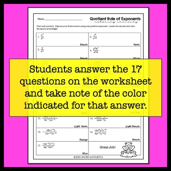 Quotient Rule of Exponents Groundhog Day Coloring Activity Worksheet