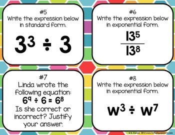 Quotient Rule of Exponents Task Cards