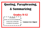 Quoting, Paraphrasing, & Summarizing - The Difference Between Each