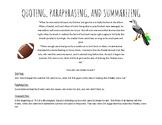 Quoting, Paraphrasing, and Summarizing Handout