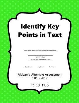 R 11.3  Identify Key Points in Text  NEW Alabama Alternate