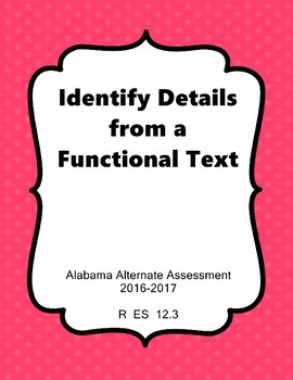 R 12.3 Identify Details from Functional Text NEW AAA
