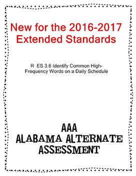 R 3.6  Extended Standard Identify High-Frequency Word on Schedule NEW AAA
