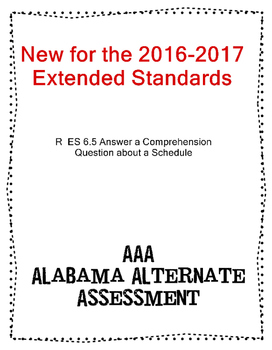 R 6.5 Extended Standards Answer Comprehension Question from Schedule NEW AAA