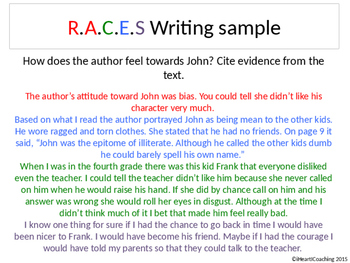 R.A.C.E.S Extended Response / Author's Quotes