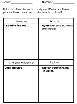 R.A.C.E Problem Solving Strategy, Word Problems, Critical Thinking *EDITABLE*