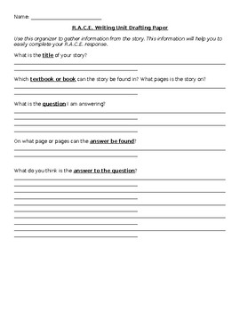 R.A.C.E. Response Writing Template