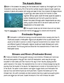 R.A.C.E. Writing Practice, The Aquatic Biome (Freshwater Regions)