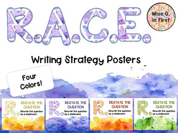R.A.C.E. Writing Strategy Posters- Watercolor Splash
