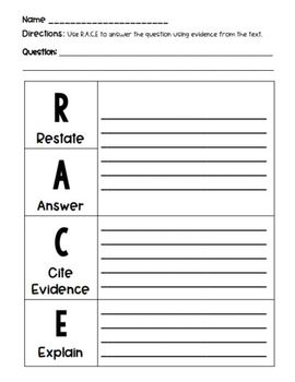R.A.C.E. to Answer With Evidence - Writing Strategies