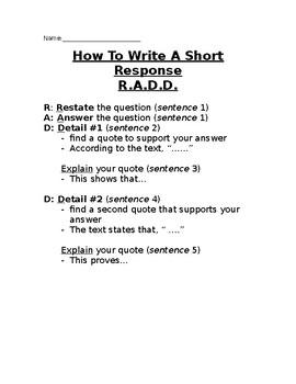 R.A.D.D. Writing Strategy Cheat Sheet