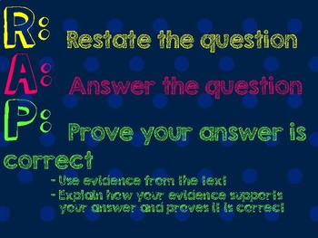R.A.P. (Restate, Answer, Prove)- For Text Responses