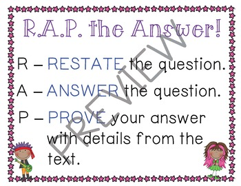 R.A.P. Your Answer! Anchor Chart Poster