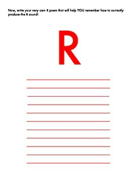 R Articulation Poetry and Practice Worksheet