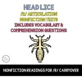 Vocalic R Articulation Reading & Vocalic R Sentences  - Bloodsuckers Unit - Lice