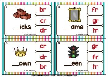 R Blends Clip Cards: br, cr, dr, fr, gr, tr, pr