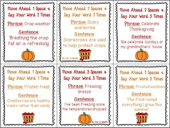 R Blend Fall Themed Articulation Board Game