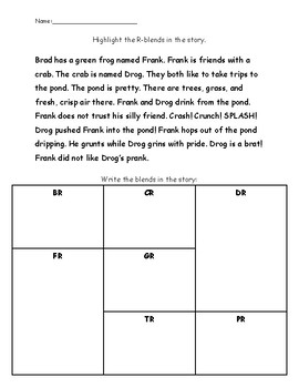 R-Blend Fluency Story and Comprehension Questions