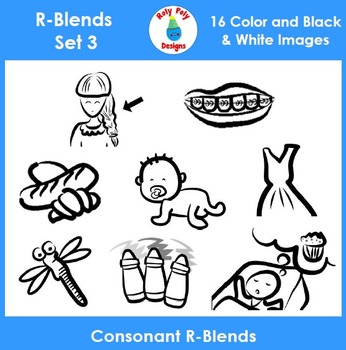 R-Blend Phonics Clip Art Set 3