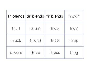 R Blend Word Sorts Freebie!