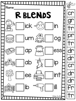 R Blends Worksheets and Activities No Prep Pack by Miss ...