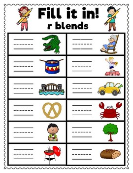 R Blends Activities and Printables