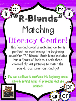 R Blends Beginning Sound Literacy Center with Coordinating