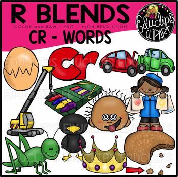 R Blends CR Words Clip Art Bundle {Educlips Clipart}