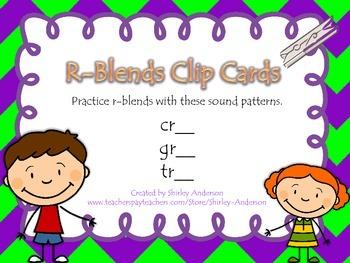 R-Blends Clip Cards for cr, gr, tr