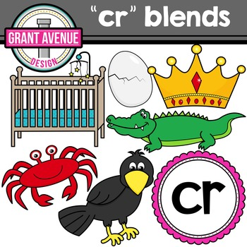 R Blends Clipart - CR Words Clipart