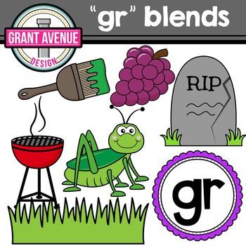 R Blends Clipart - GR Words Clipart