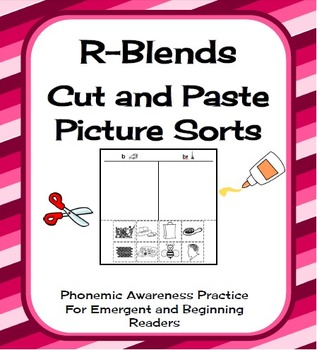 R-Blends Cut and Paste Picture Sorts Phonics / Phonemic Awareness Worksheets