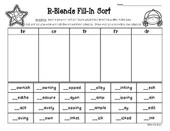 R - Blends Fill-In Sort - br, cr, tr, fr, dr