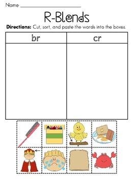 R Blends Worksheets Pack