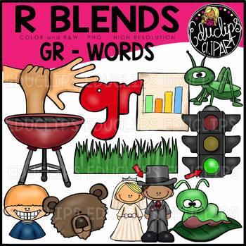 R Blends GR Words Clip Art Bundle {Educlips Clipart}