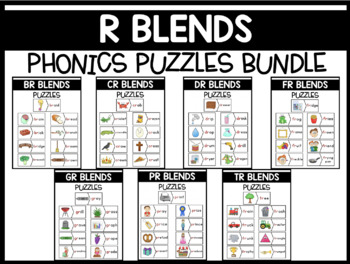 R Blends Phonics Centers:  Picture and Word Match Puzzles BUNDLE