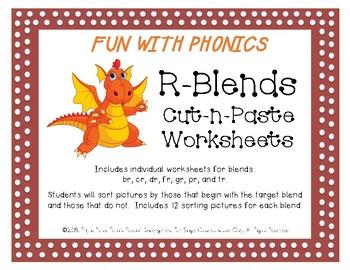 R-Blends Pictures Cut-n-Paste Worksheets