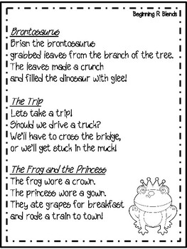 R Blends Poem and Activity for Shared Reading