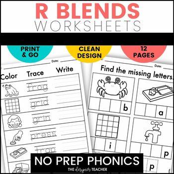 NO PREP R Blends Worksheets Phonics Word Work