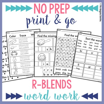 NO PREP Print & Go R Blends Word Work