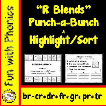 R Blends: Punch-a-Bunch / Highlight & Write (br, cr, dr, fr, gr, pr, tr)