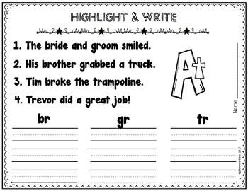 R Blends: Punch-a-Bunch / Highlight & Write (br, cr, dr, fr, gr, pr, tr)