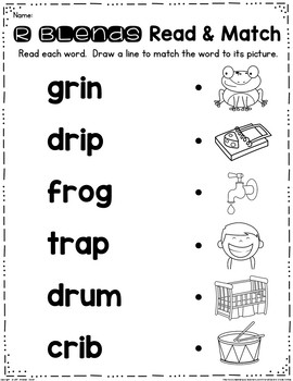 R Blends Read and Clip Cards