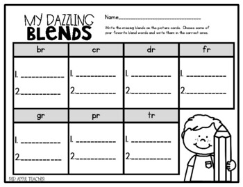 R Blends Write & Wipe--Cards and Recording Sheets for your K-2 Classroom