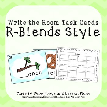 R-Blends Write the Room Task Cards