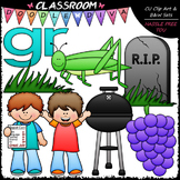 R Blends (gr) - Phonics Clip Art & B&W Set