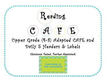 R' CAFE Headers and Daily 5 Labels- Black & Bright