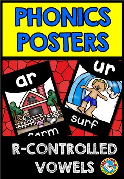 R-CONTROLLED VOWELS POSTERS (BLACK AND BRIGHTS CLASSROOM DECOR)