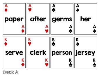 R-Colored Vowel Card Decks