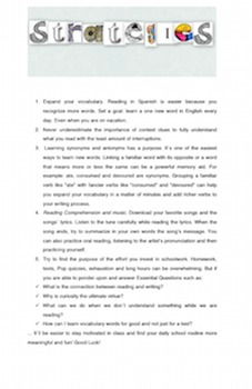 R. Comprehension and Vocabulary Acquisition Pointers for ESL and EFL sts